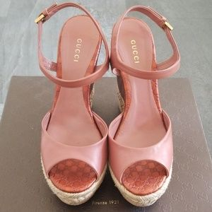 Authentic GUCCI Nappa Charlotte Desert Rose Wedge